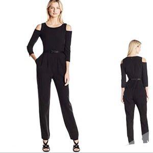 Eliza J Cold Shoulder Black Jumpsuit Size 6